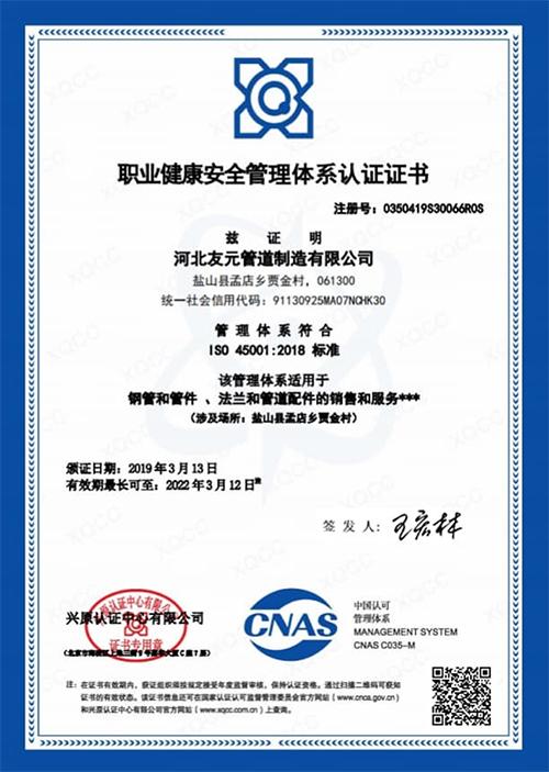 友元管道:职业健康安全管理体系认证证书